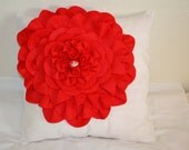 Red large flower pillow cover