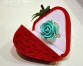 Strawberry Gift Box - ring, stud earrings, or small pendants