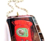 Pendant glass red telephone comes with choker or chain