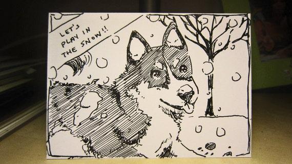 Original ACEO - Snow Husky
