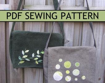 Free-Motion Applique Messenger Bag PDF Sewing Pattern