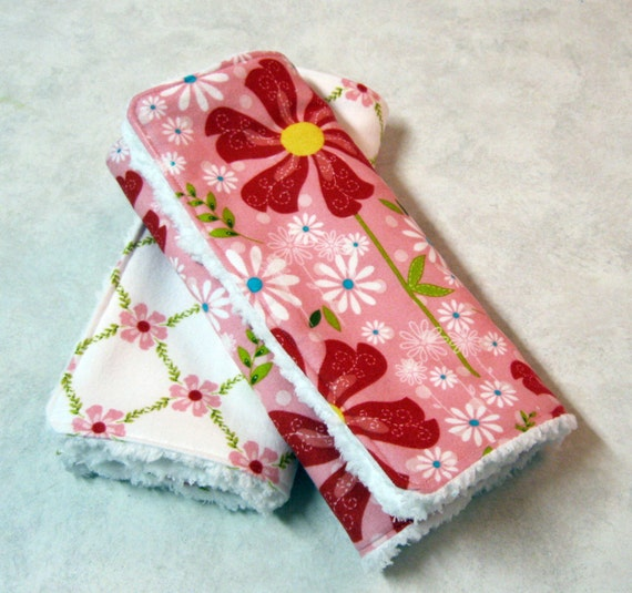 Sale 2 Pack Flannel and White Chenille Burp Cloths --Made to Order