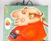 Contemporary Folk Art-Happy Halloween Devil original Painting