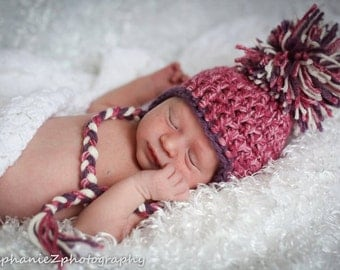 PDF Crochet Pattern - Multi-Colored Earflap Hat with Pom Pom - Includes 4 sizes