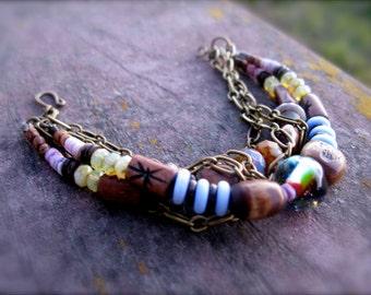 Organic Multi Strand Beaded & Chained Bracelet: Lampwork, Bone, Czech Glass, Shell, Brass - Ocean Glow
