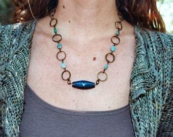 Chainlink Warrior Goddess Necklace: Variscite & Lapis Lazuli Inlaid Focal - The High Priestess