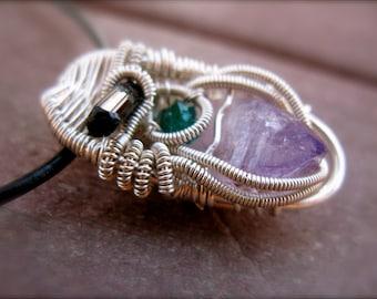 Organic Sterling Silver Wire Wrap Pendant: Vera Cruz Amethyst, Chrome Diopside, Smokey Quartz - Aether Aesthetics