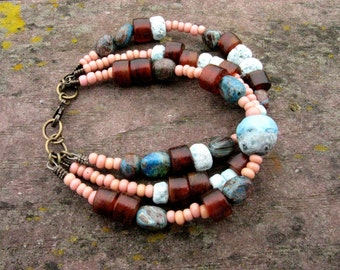 Multi Strand Organic Beaded Bracelet: Lampwork, African Trade Beads, Horn, & Jasper - Mystery in Antiquity