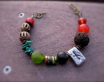 Organic Beaded Bracelet: Recycled Glass, Turquoise, Lava, Bodhi Seed, Bone, Coral, and Bronze - Rune Mini Series II Nyd