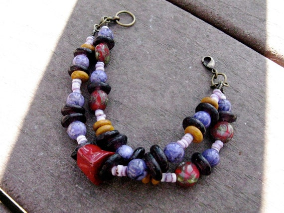 ON SALE Multi Strand Organic Beaded Bracelet - The Witching Hour