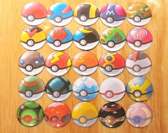 One Set of 26 Pokeballs - 1in Button Badge