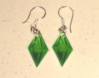 Sims Plumbob (Diamond Thing) Earrings, Keychain, Necklace, Charm