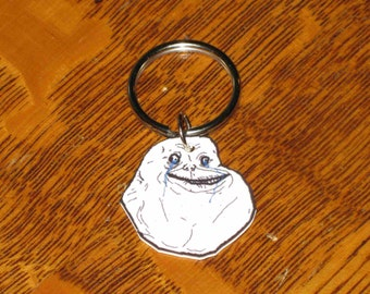 Forever Alone Guy - Internet Meme Keychain, Cell Phone Charm, Necklace, Earrings