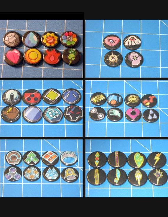 Set of All Pokemon League Gym Badges (7 leagues, 52 badges) Including Kalos