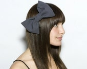 Rough Slate Hair Bow - medium