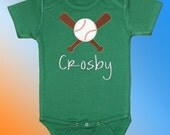 Bodysuit Baby Clothes - Personalized Embroidered Applique - Baseball and Bats on Kelly Green