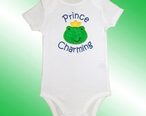 Bodysuit Baby Clothes - Embroidered Applique - Prince Charming - Short or Long Sleeved - Free Shipping