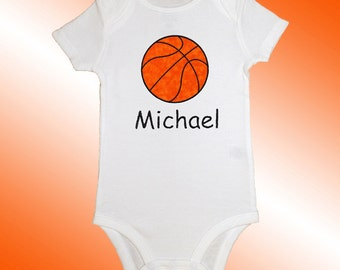 Bodysuit Baby Clothes - Personalized Applique - Basketball - Embroidered Short or Long Sleeved - Free Shipping