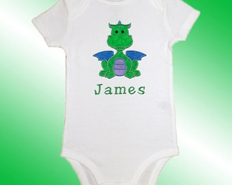 Bodysuit Baby Clothes - Personalized Applique - Dragon - Embroidered Short or Long Sleeved  - Free Shipping