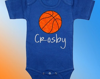 Bodysuit Baby Clothes - Personalized Embroidered Applique - Basketball on Royal Blue