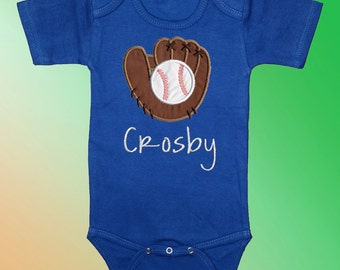 Bodysuit Baby Clothes - Personalized Embroidered Applique - Baseball and Glove on Royal Blue