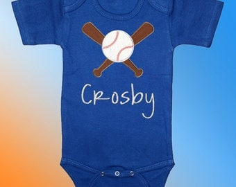 Bodysuit Baby Clothes - Personalized Embroidered Applique - Baseball and Bats on Royal Blue