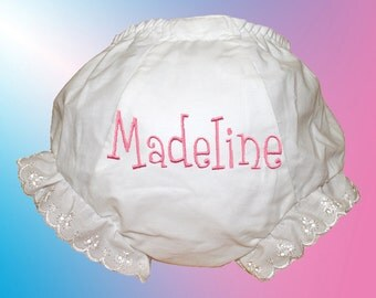 Bloomers - Personalized Embroidered Diaper Cover - Pink Whimsical Monogram - Choose Any Color - Free Shipping