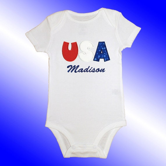 Bodysuit Baby Clothes - Personalized Applique - USA - Embroidered Short or Long Sleeved - Free Shipping