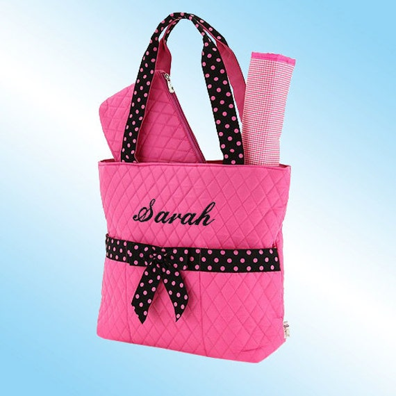 PERSONALIZED DIAPER BAG - 3 Piece Set - Quilted Hot Pink with Black Accents and Pink Polka Dots