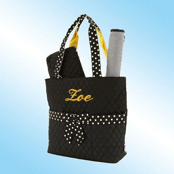 PERSONALIZED DIAPER BAG - 3 Piece Set - Quilted Black with Gold Accents and Gold Polka Dots
