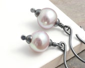 Tiny Pearl Earrings: Freshwater Pearl Earrings with Grey Black Oxidized Sterling Silver (Sedona)