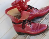 ON SALE Women's Justin Size 7.5 Metallic Pink Lace-up Boots