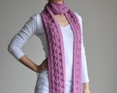 Hand knitted Bright Pink Lace Scarf (Autumn Leaves)