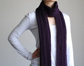 Hand Knitted Purple Lace Scarf