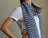 Hand Knitted Grey & Blue Scarf - Wool