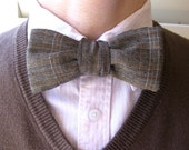 Stone Plaid Upcycled Bow Tie