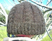 Cabled aran hat made from homegrown wool and handspun yarn