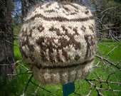 moose in the woods hat made with homegrown handspun yarn in natural colors