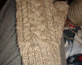 Reserved for Shannon of North Woods Fever-Cabled fingerless gloves made from handspun shetland sheep wool