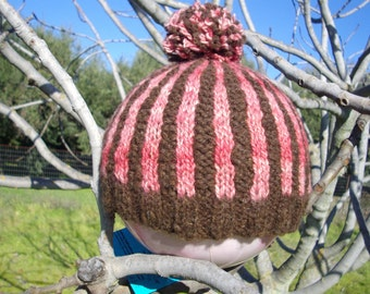 wool hat, handmade with handspun yarn.  striped pink and brown color