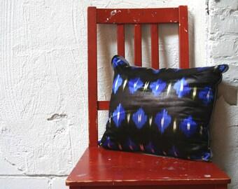 Silk Ikat Throw Pillow- Royal, Black and Grass