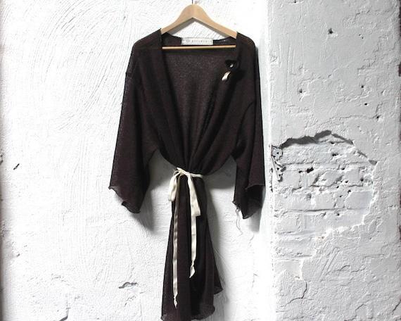 Deep Plum Fine Wool Sweater Knit Robe
