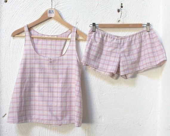 Cropped Racerback Plaid Pajama Set