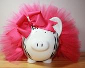 Hot Pink And Zebra Print Medium Piggy Bank With Tutu