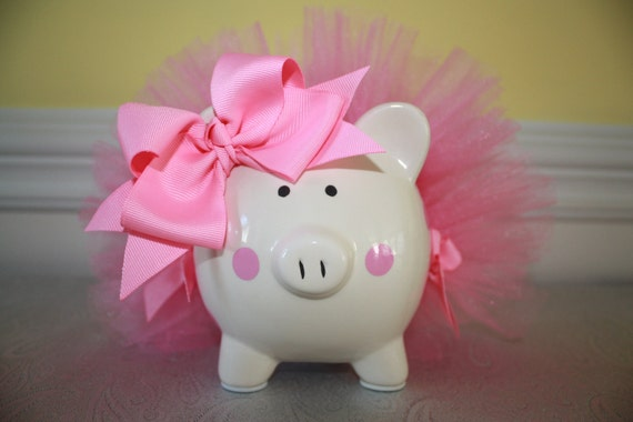 Small Piggy Bank With Bubble Gum Pink Tutu And Polka Dots