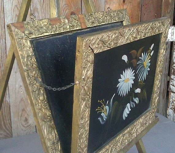 Vintage Ornate Frame with Picture of Flowers