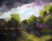 Original Art Painting  Trees Field Mountains Landscape Oil Painting Vermont Landscape