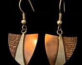 "1"" Shovel - Copper and Silver Earrings"