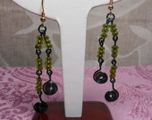 Enamelled Copper and Glass Green Abstraction Earrings OOAK