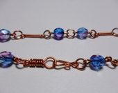 Copper and Crystal Glass Twisted Crystal Bracelet OOAK